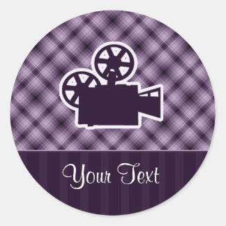 Cámara de película púrpura etiquetas redondas