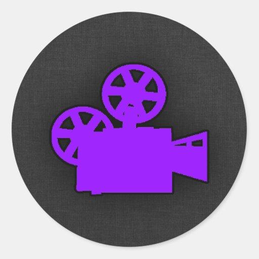 Cámara de película púrpura violeta pegatinas redondas