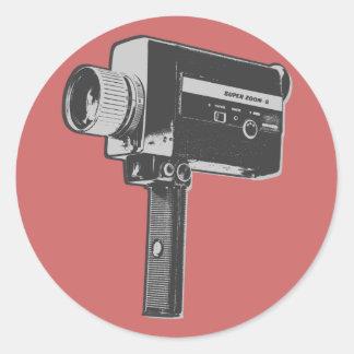 Cámara de película retra pegatina redonda