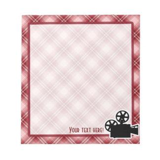 Cámara de película roja de la tela escocesa bloc de notas