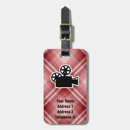 Cámara de película roja de la tela escocesa etiquetas de equipaje