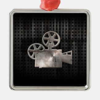 Cámara de película rugosa adorno navideño cuadrado de metal