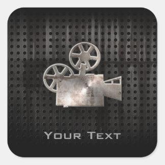 Cámara de película rugosa pegatina cuadrada