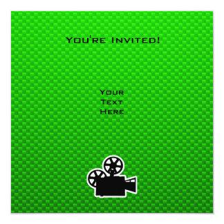 "Cámara de película verde invitación 5.25"" x 5.25"""