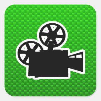 Cámara de película verde calcomanía cuadradas personalizadas