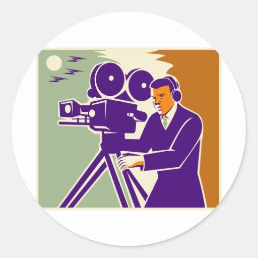 Cámara de película video del vintage del equipo de etiquetas redondas