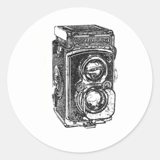 Cámara de Rolleiflex del vintage Pegatina Redonda
