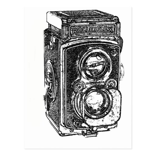 Cámara de Rolleiflex del vintage Tarjeta Postal