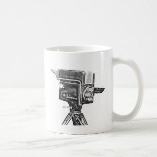 cámara de televisión del estudio de la difusión de taza de café