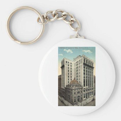 Cámara de vintage 1915 del búfalo NY del edificio Llavero Redondo Tipo Pin
