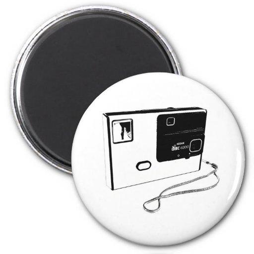 cámara del disco de los años 80 imán redondo 5 cm