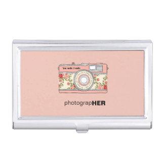 Cámara del vintage de PhotograHER con los rosas Caja De Tarjetas De Visita