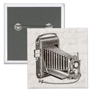 Cámara del vintage - fotografía antigua de las cám pin cuadrada 5 cm