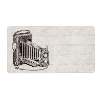 Cámara del vintage - fotografía antigua de las etiqueta de envío