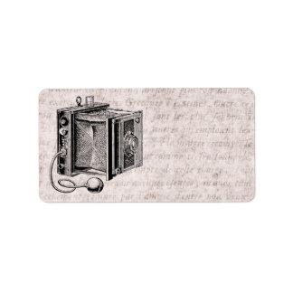 Cámara del vintage - fotografía antigua de las etiquetas de dirección