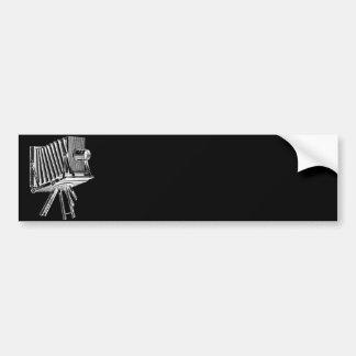 Cámara del vintage - negro antiguo de la fotografí pegatina de parachoque
