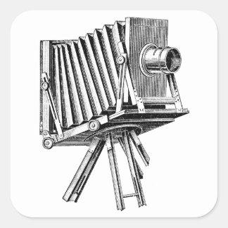 Cámara del vintage - negro antiguo de la fotografí calcomania cuadradas personalizadas