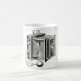 Cámara del vintage - negro antiguo de la fotografí taza