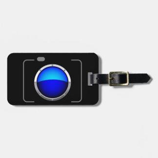 Cámara digital azul etiquetas de equipaje