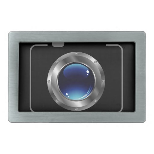 Cámara digital con una abertura azul brillante hebilla cinturón