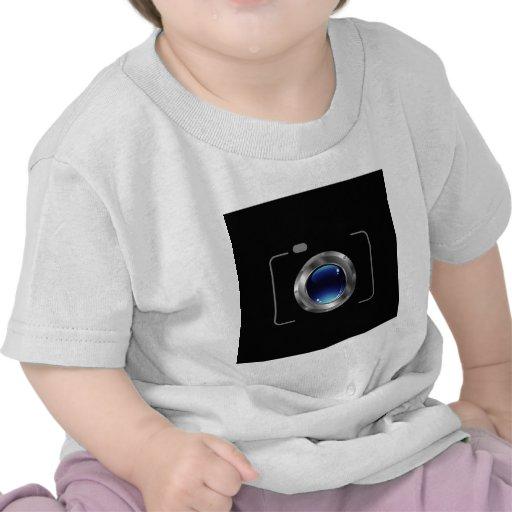 Cámara digital con una abertura azul brillante camiseta