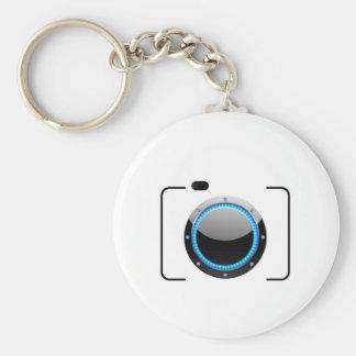 Cámara digital con una abertura azul llaveros