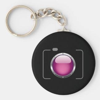 Cámara digital con una abertura rosada llavero personalizado