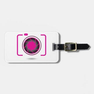 Cámara digital rosada etiqueta de maleta