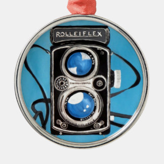 Cámara gemela de la lente del vintage ornamento para arbol de navidad