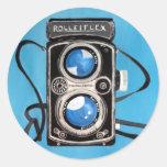 Cámara gemela de la lente del vintage pegatina redonda