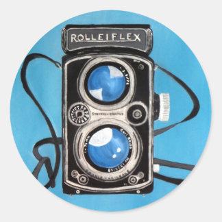 Cámara gemela de la lente del vintage etiqueta redonda