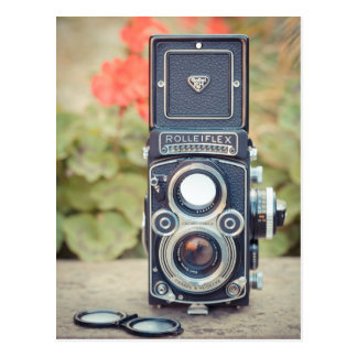 Cámara gemela vieja de la lente postales