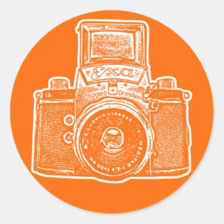 Cámara germanooriental II - naranja Etiquetas Redondas