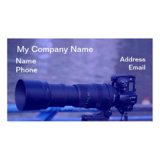 Cámara refleja de la sola lente con el teleobjetiv plantilla de tarjeta de negocio