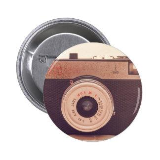 Cámara retra de la sepia del vintage pin redondo de 2 pulgadas
