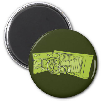 Cámara vieja verde clara imán redondo 5 cm