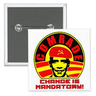 Camarada Obama Button Pin Cuadrado