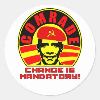 Camarada Obama Sticker Pegatina Redonda