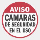 Cámaras de seguridad Aviso funcionando en español Pegatina Redonda