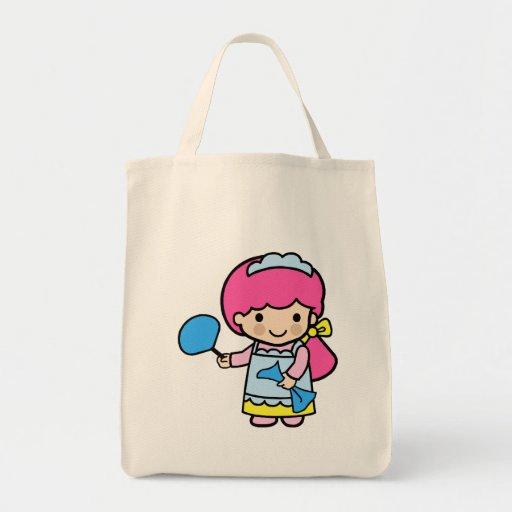 Camarera 2 bolsa tela para la compra