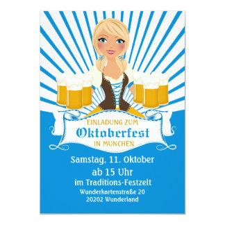 Camarera con la invitación de Stein Oktoberfest