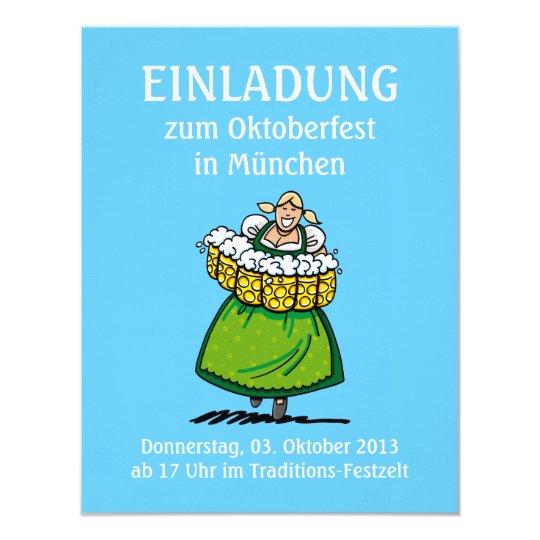 """Camarera de la cerveza de Oktoberfest Munich de la Invitación 4.25"""" X 5.5"""""""