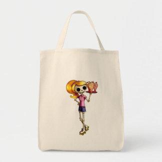 Camarera esquelética rubia bolsa tela para la compra