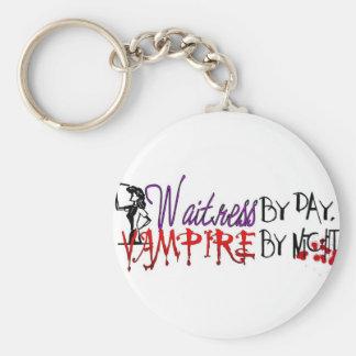 Camarera por día, vampiro por noche llaveros personalizados