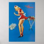 Camarera rubia de la langosta fresca pellizcada poster