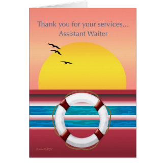 Camarero auxiliar - gracias - barco de cruceros tarjeta de felicitación