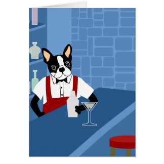 Camarero de Boston Terrier Tarjeta De Felicitación