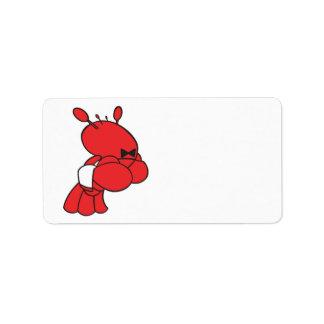 camarero de la langosta del dibujo animado etiqueta de dirección