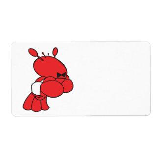 camarero de la langosta del dibujo animado etiqueta de envío