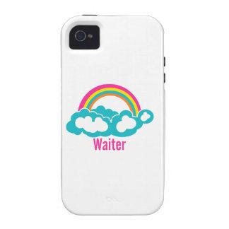 Camarero de la nube del arco iris Case-Mate iPhone 4 funda